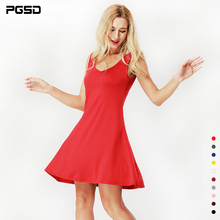 PGSD Spring summer Simple Fashion casual Pure Colored Women Clothes Sexy Sleeveless O-Neck Belt Bottoming Short Dress female