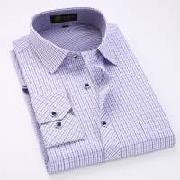 Men S Regular Fit Contrast Checkered Plaid Dress Shirt With Left Chest Pocket Long Sleeve Male