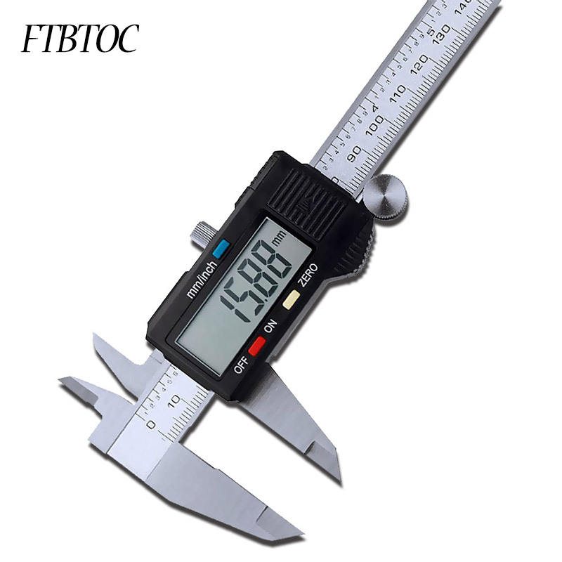 Vernier Metric Digital Caliper with LCD Display 0-6 inch / 150mm Stainless Steel Electronic Depth Gauge Measuring Tools