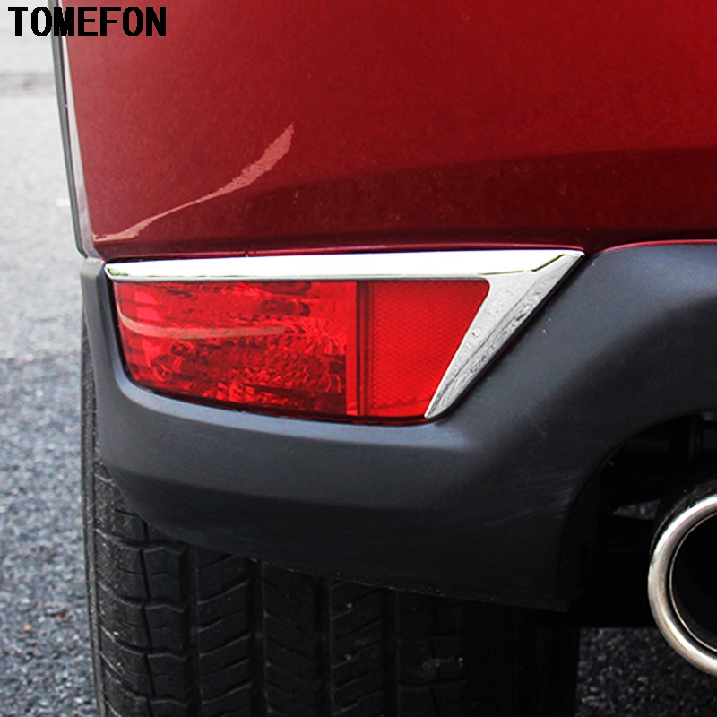 TOMEFON 2PCS For <font><b>Mazda</b></font> CX-5 <font><b>CX5</b></font> 2017 2018 Accessories Exterior ABS Chrome Rear Tail <font><b>Fog</b></font> <font><b>Light</b></font> Lamp <font><b>Cover</b></font> Trim image