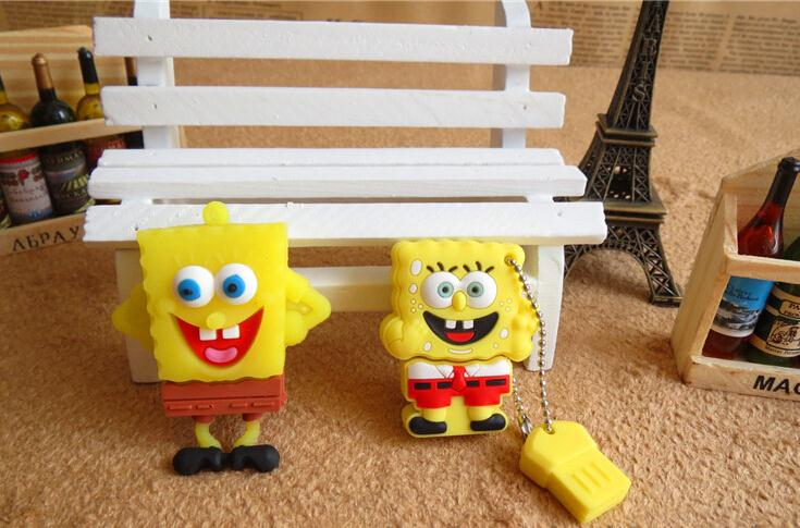 SpongeBobMemory Card Stick Thumb/Car key/Pendrive U Disk/Creativo Gift USB Flash Drive 4GB-64GB Real capacity wholesale S57