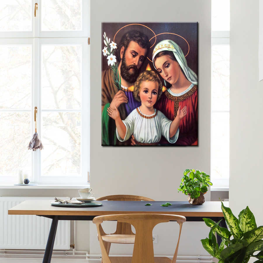 1 Piece HD Canvas Prints  Holy Family Canvas Painting Wall Art Home Decoration Christian Poster