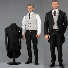 1/6 scale handsome business suit male V1014B 1/6 Gentlemen's suit with waistcoat and leather shoes for 12' narrow shoulder body
