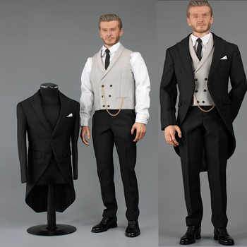 1/6 scale handsome business suit male V1014B 1/6 Gentlemen\'s suit with waistcoat and leather shoes for 12\' narrow shoulder body - DISCOUNT ITEM  26 OFF Toys & Hobbies