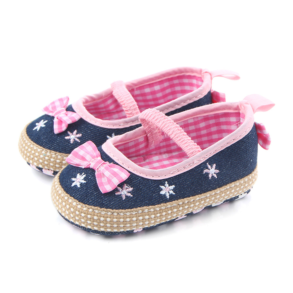 Girl Spring Canvas Bow first walkers Baby Soft Shoes Slip Footwear Crib Shoe Newborn Bab ...