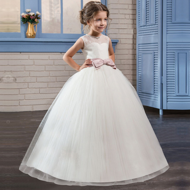 Белый Детские платья для девочек для Свадебная вечеринка детская Причастие Выпускной платье для девочек-подростков на день рождения Церемония платье для выпускного вечера 5 14