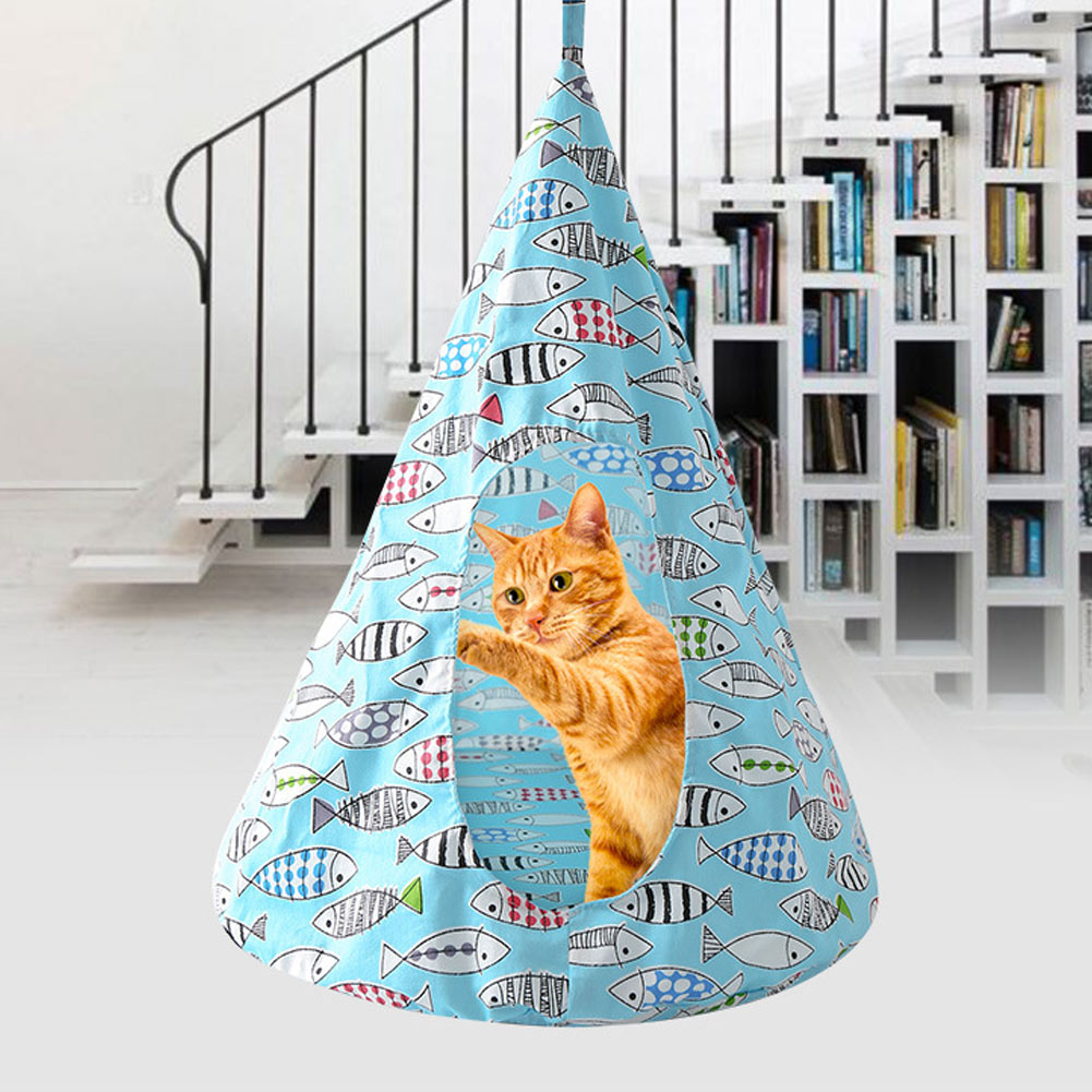 Hot Pet Kitten House Cone Shaped Breathable Cats Hammock Tent Cages Supplies FQ-ing