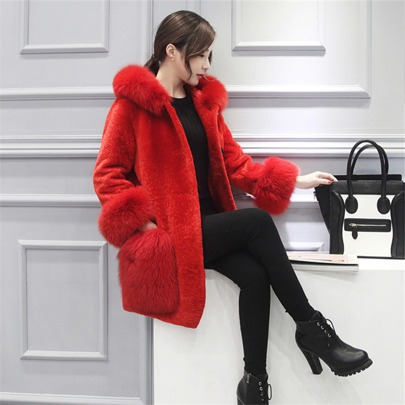 Manteaux La Nouvelle Renard 2018 Hiver Fourrure Mode red Épais À Gray De Taille Parker Manteau Femmes Plus L0282 Longues Capuchon Manches Occasionnel Chaud UqgUTxt