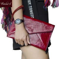 Contact S Genuine Leather Women Day Clutch Bags Cowhide Leather Envelope Clutches Organizer Purse Eevening Party