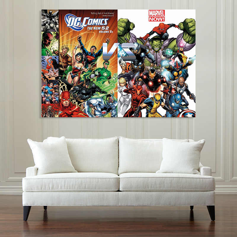 The Avengers Superman DC Comics VS Marvel Now Super Hero Living Room Decoration Canvas Painting Framesless Movie Poster Hulk