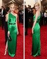 Hot Vender Emma Roberts Celebrity Dresses 2015 Met Gala Verde Esmeralda Sexy de Manga Longa Noite