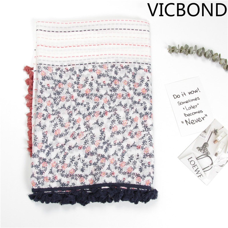 2018 fashions Korean scarves small fresh pink blue virtual lines intersections small flo ...