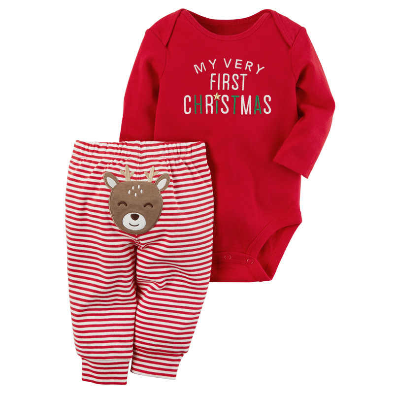 My First Christmas Baby Boys Girls Outfit Long Sleeved Baby Romper+Striped Pants 2PCS Newborn Christmas Baby Clothes DS19