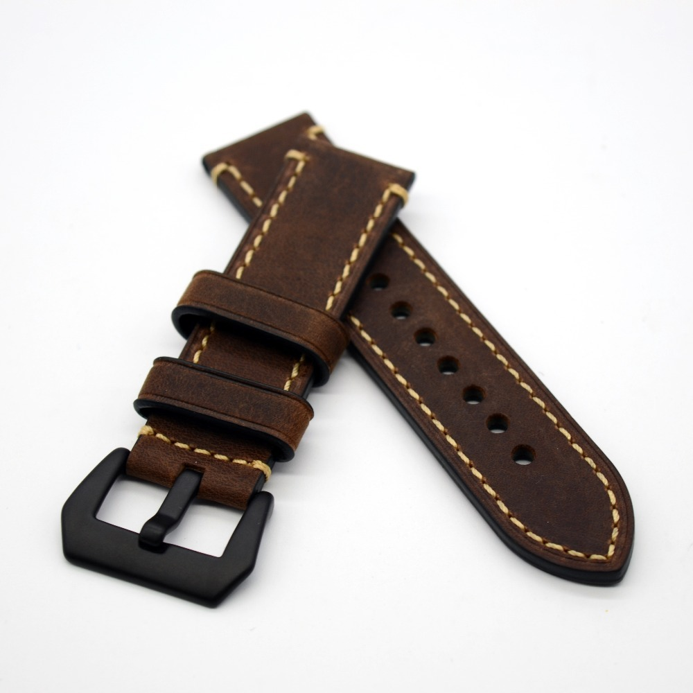 Handmade High Quality Black Buckles WatchBand Watch Straps & Black Buckle 20mm 22mm 24mm 26mm eache 20mm 22mm 24mm 26mm genuine leather watch band crazy horse leather strap for p watch hand made with black buckles