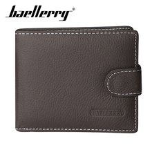 Baellerry Men Hasp Solid Wallet Genuine Leather Casual Coin Pocket Card Holder Photo Porta Money Bag