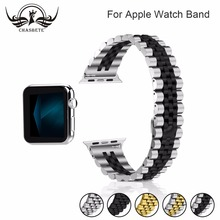 For Apple Watch Band 42/ 44mm Black Gold Stainless Steel Bracelet Buckle Strap Clip Adapter for iWatch 38/ 40mm
