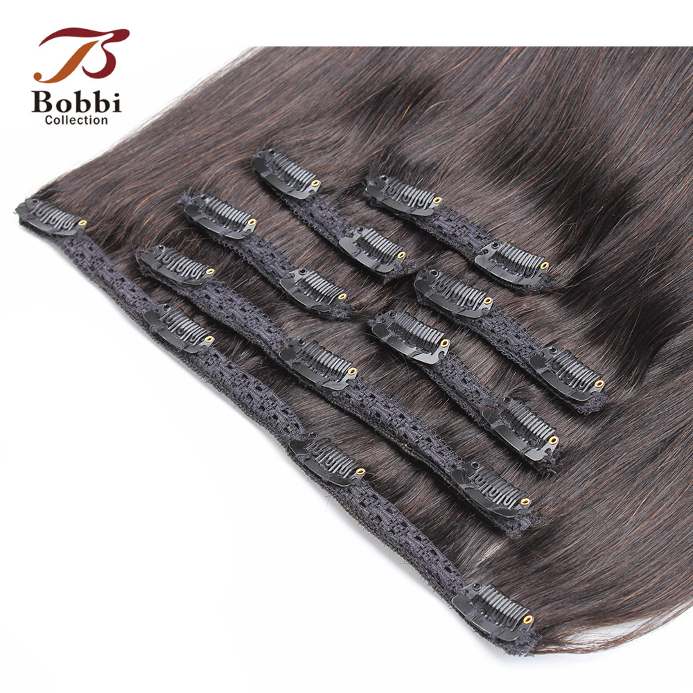 Human-Hair-Extensions Remy-Hair Clip Bobbi-Collection Indian Natural-Color Straight