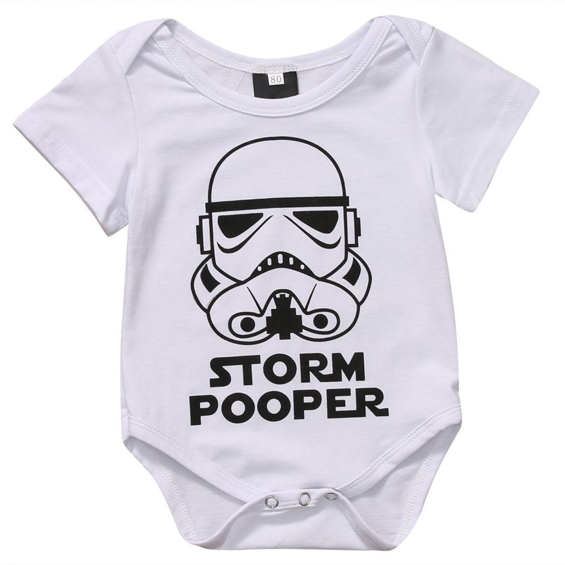 0-18M Infant Newborn Baby Boy Girl Storm Pooper Short Sleeve Cotton Romper Jumpsuit Playsuit Tops Summer Clothes