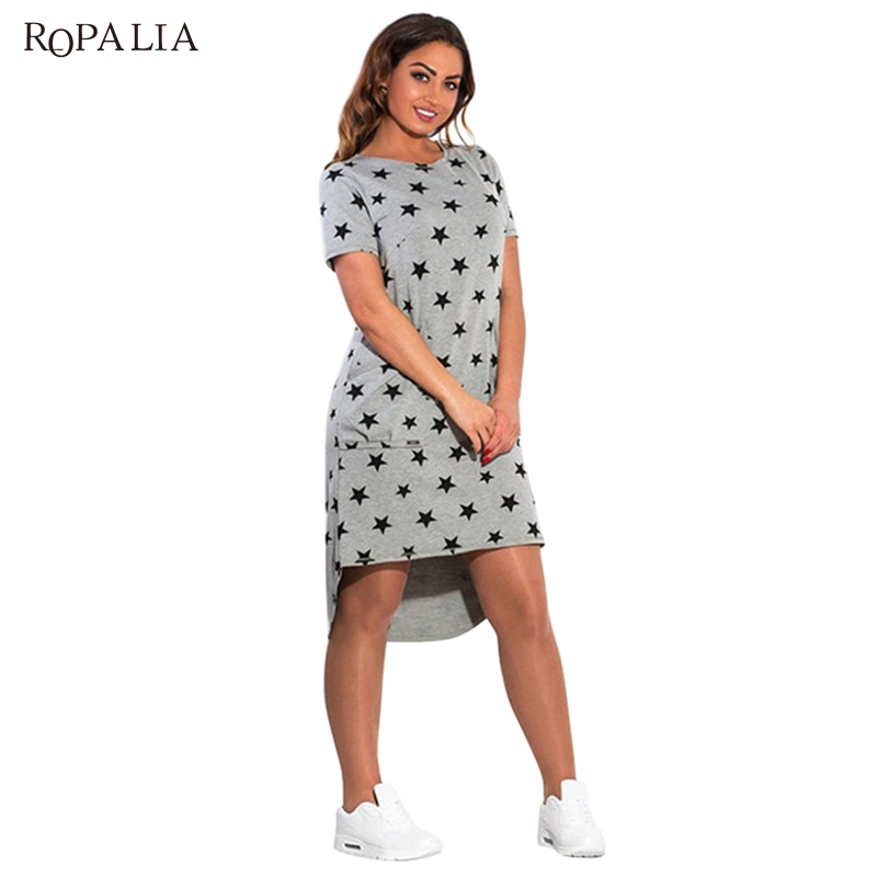ROPALIA stylish Women Summer Dresses big Sizes Print Star Female Clothing Knee-Length Loose Dress of the large Size 4XL/5XL/6XL