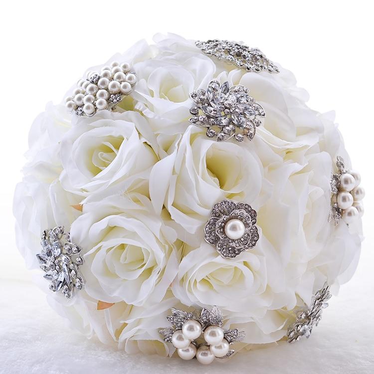 NZUK 2018 wedding bouquet white handmade rose bride bridesmaid wedding bouquet beaded diamond crystal wedding bouquet