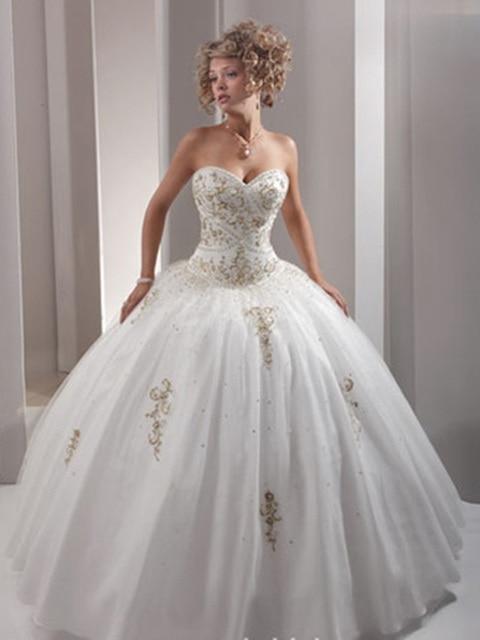 Vestido Debutante Gold Decoration White Quinceanera Dresses ...