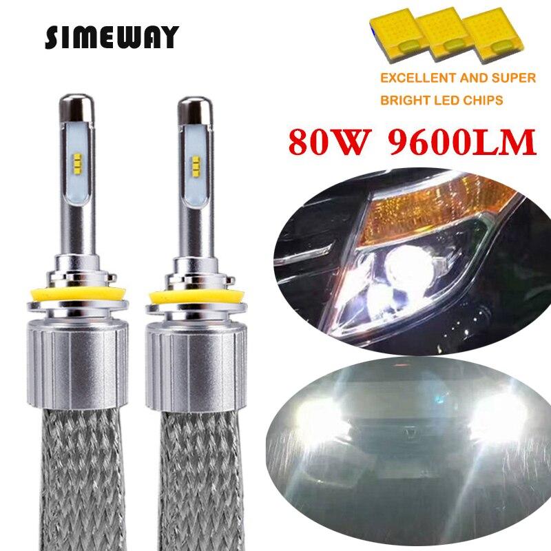 Автомобильный светодиодный H1 фар H11 лампы H7 H8 H9 HB3 9005 HB4 9006 9012 9004 D2S зэс чипы для автомобильных осветительных комплект H27 880 881 H3 точечная против...