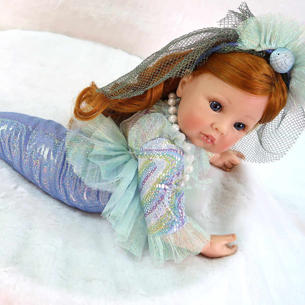 "Little Mermaid princess Doll 24""58cm bebe doll reborn vinyl silicone baby doll toys for children gift"