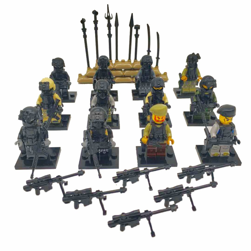 City Police SWAT Team Army Soldiers Figure With Weapons Guns Accessories LegoINGlys Military Figures Building Blocks Toys c010 original blocks educational toys swat police military weapons gun model city accessories mini figures