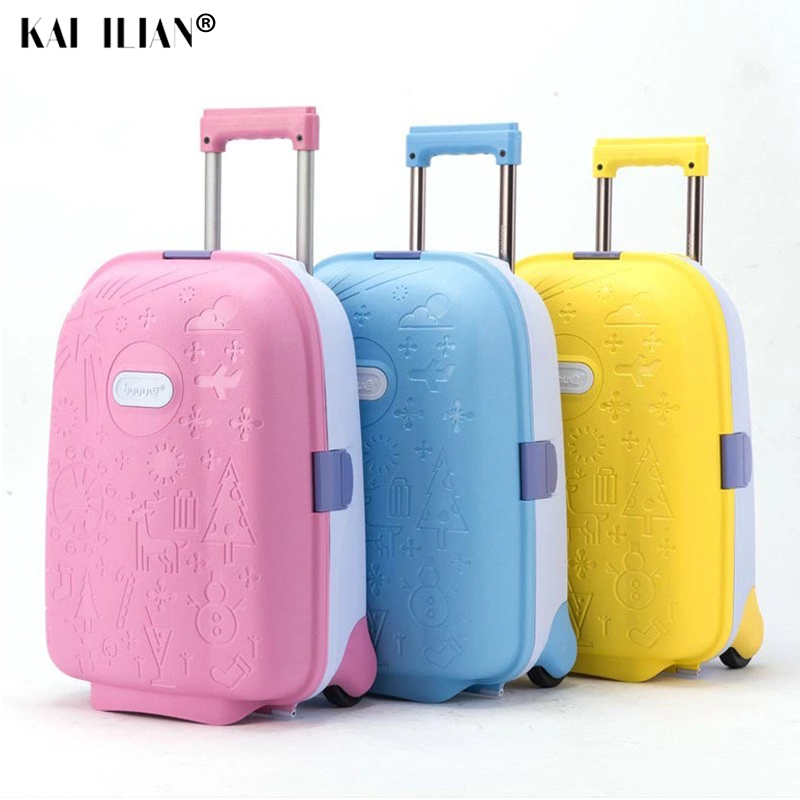 Valise d'enfant de 16 pouces sur roues bagage de chariot d'enfants portent la valise de cabine mignonne pour le voyage de fille petit sac roulant le bagage