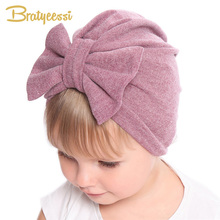 New Winter Baby Hat for Girls Big Bow Autumn Turban Baby Cap Photography Props Infant Beanie Baby Girl Hat Accessories 11 Colors 2019 vintage baby hat for girls photography props autumn winter baby girls hat infant accessories all match cap kids beret 1 pc