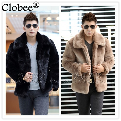 New 2017 winter Elegant men faux fur jacket Soft and comfortable warm rabbit fur Turn-down Collar solid color fur coat