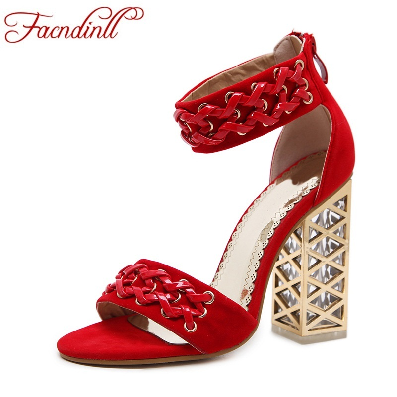 цены FACNDINLL new fashion women pumps sexy square high heels peep toe shoes woman dress party wedding shoes summer gladiator sandals