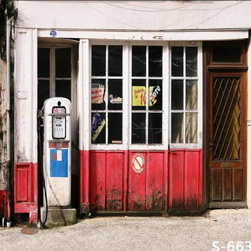 party background High quality Computer print Old Vintage Wood Window Door Cottage Gas Filling Station Yard backdrop