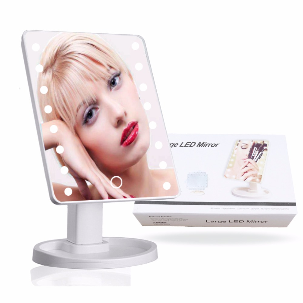 16led Led Makeup Mirror Lighted Tabletop Lamp Touch Screen