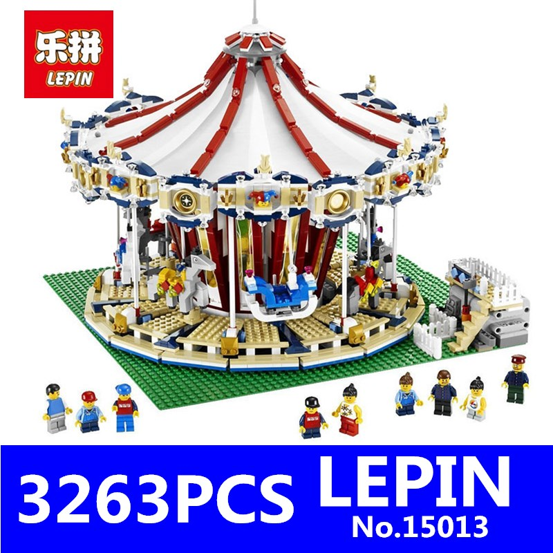 Creator Carousel Model Building LEPIN 15013 3263Pcs City Street Kits Blocks Toys for Children Compatible 10196 Birthday Gift lepin 15003 2859pcs city creator town hall sets model building kits set blocks toys for children compatible with 10024