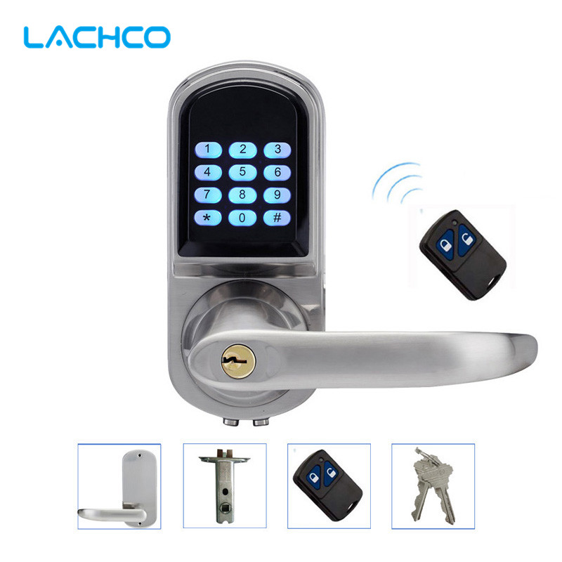 LACHCO Electronic Door Lock Remote Control, Password, Mechanical Key, Digital Intelligent Smart Entry Keyless Lock  L16071BSRM
