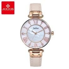 Reloj de cuarzo japonés para mujer, pulsera fina de moda para vestido, regalo de cumpleaños para niña, reloj de cuero, Concha Retro Julius