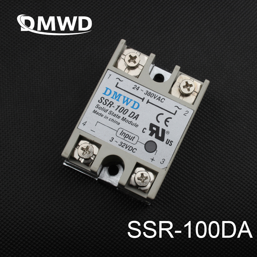 DMWD solid state relay SSR-100DA 100A SSR 100DA 3-32V DC TO 24-380V AC relay solid state dc-ac high quality temprature control solid state relay ssr 40a 3 32v dc 24 380v ac with heat sink