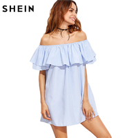 SheIn Women Dress Summer 2017 Ladies Off The Shoulder Ruffle Dress Blue Striped Short Sleeve Casual
