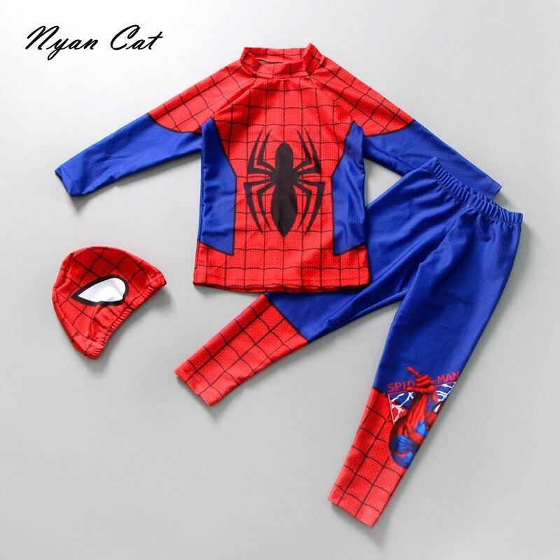 NEW Baby Boys Swimwear Spider Man Bat Man Super Hero Cartoon 3pc Swimsuits Boys Bath Suit