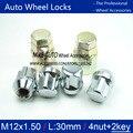 4 unids/set + 2 llaves antirrobo tuercas m12 * 1.5 rueda tuercas tuercas de aleación de plata para buick, chevrolet, honda, hyundai, kia, mitsubishi, toyota
