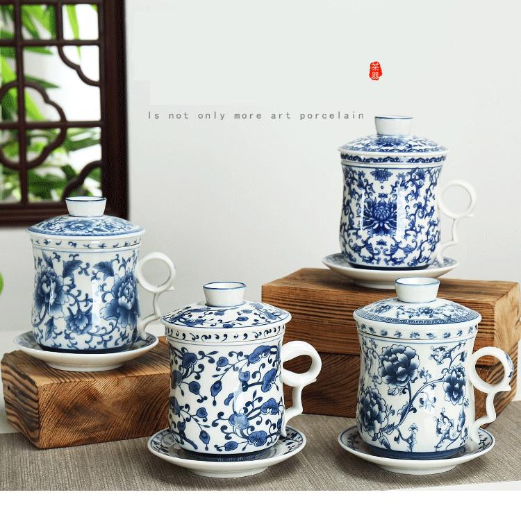 Tazas De Té Taza China Tradicional Con Tapa Platillo De Porcelana Azul Y Blanca Taza De Café De Cerámica Juego De Té Porcelain Teacup Cup With Covertea Cup Aliexpress