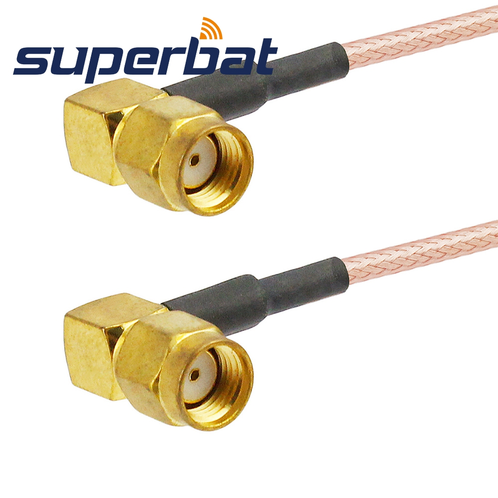 Superbat RF Coax Cable WIFI antenna extension cable RP-SMA male to RP-SMA male female right angle Pigtail Coax cable RG316 15cm