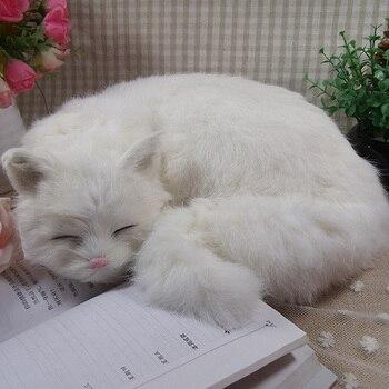 white simulation cat toy polyethylene & furs sleeping cat model about 29x31x10cm 2326