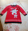 Baby Girl Cotton Sweater Red Deer Snow Knit Long Sweater Dress Knitting Thick Cute Top Children Girl Fall Winter Clothing 12m24m