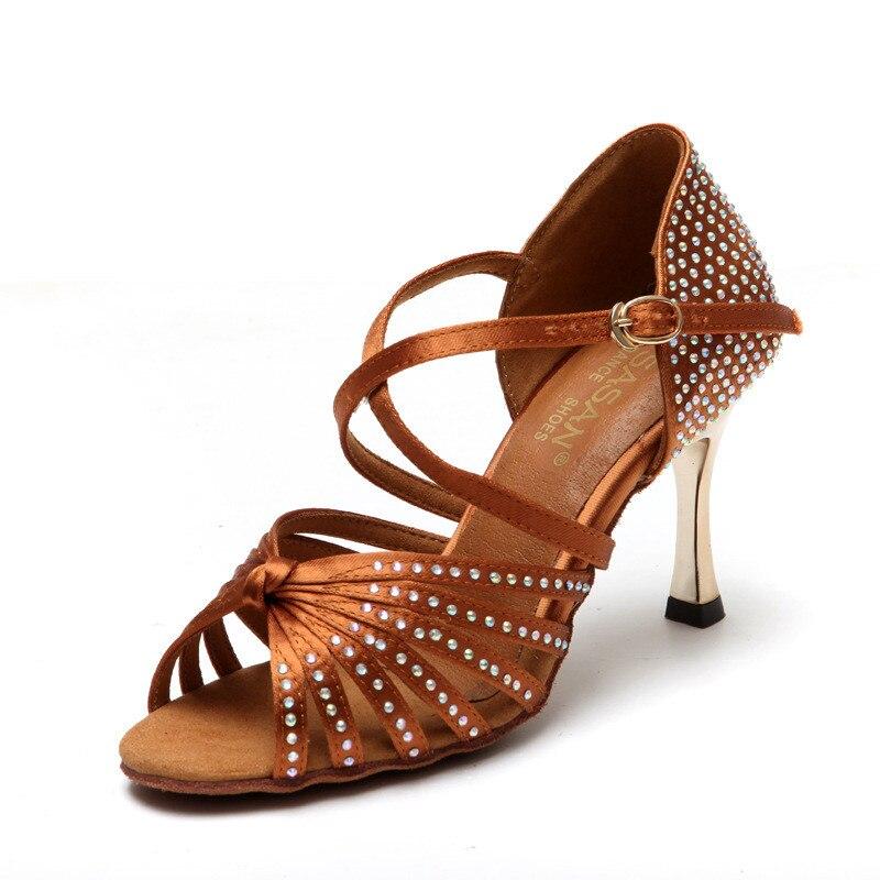 Ballroom Tango Latin dance shoes 8.5cm square gold heels Sandals dancing for women ladies dance shoes Satin Upper Rhinestones