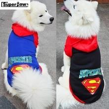 New Medium Large Dog Clothes Puppy Winter Coat Cartoon Superman Jacket Hoodie Sweater T-shirt Pet Products Pets Costumes GGC06