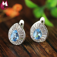 clip earrings for women water drop elegant oval topaz natural crystal real 925 starling silver luxury jewelry women's day gifts