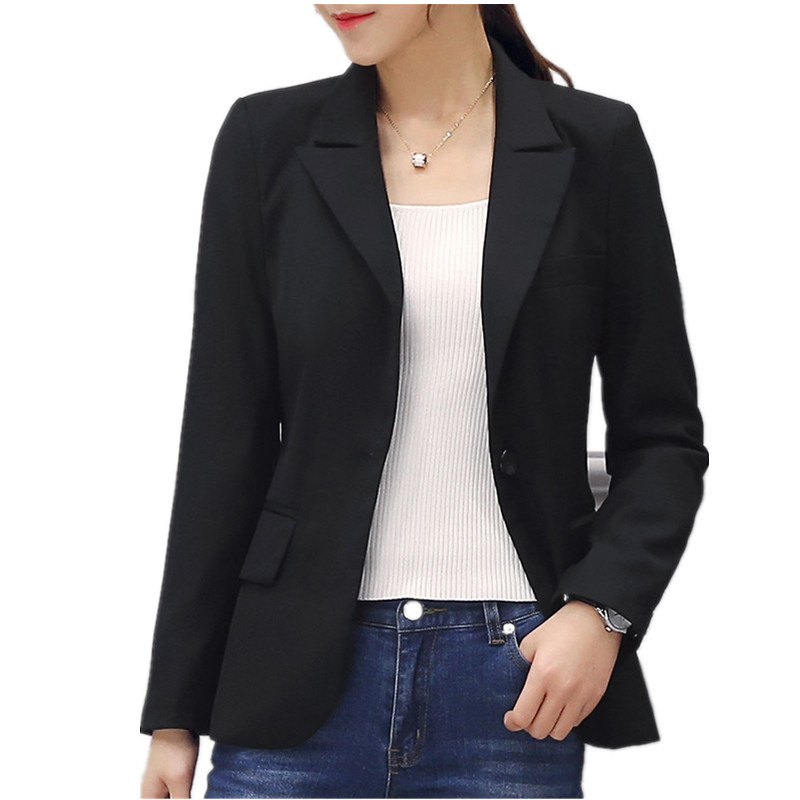 Plus Size 4XL Small Suit Jacket Female 2019 Blazer Feminino Spring Work Office Black Blazer Women