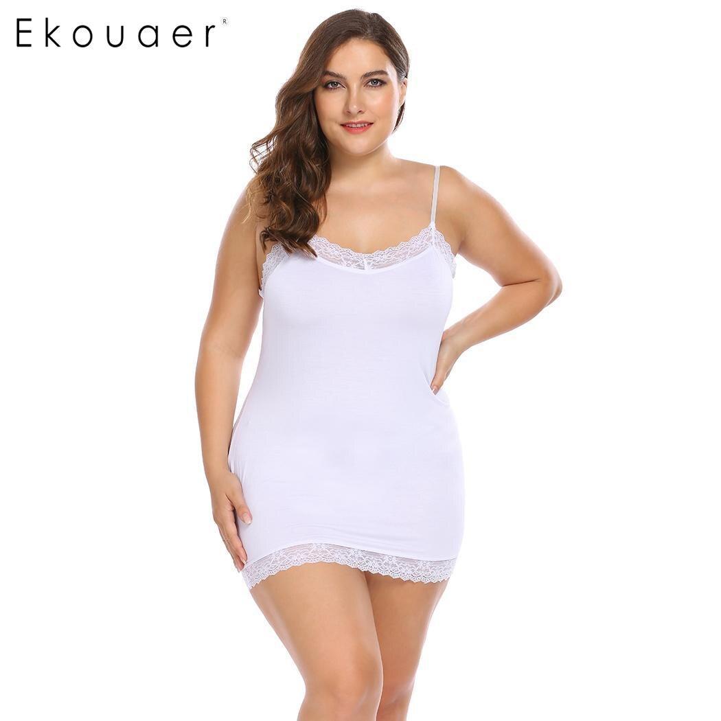 Ekouaer Lingerie Sexy Nightdress Women Plus Size Sleepwear Nightgown V-Neck Lace Patchwork Slim Full Slips Night Dress XL-4XL 1